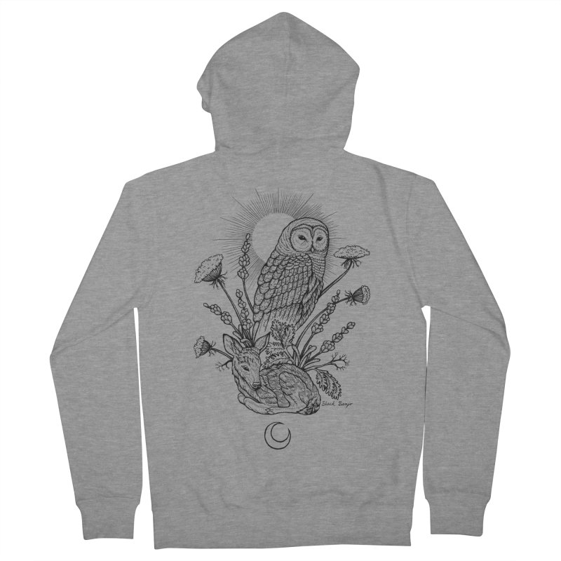 Owl & Fawn Men's French Terry Zip-Up Hoody by Black Banjo Arts