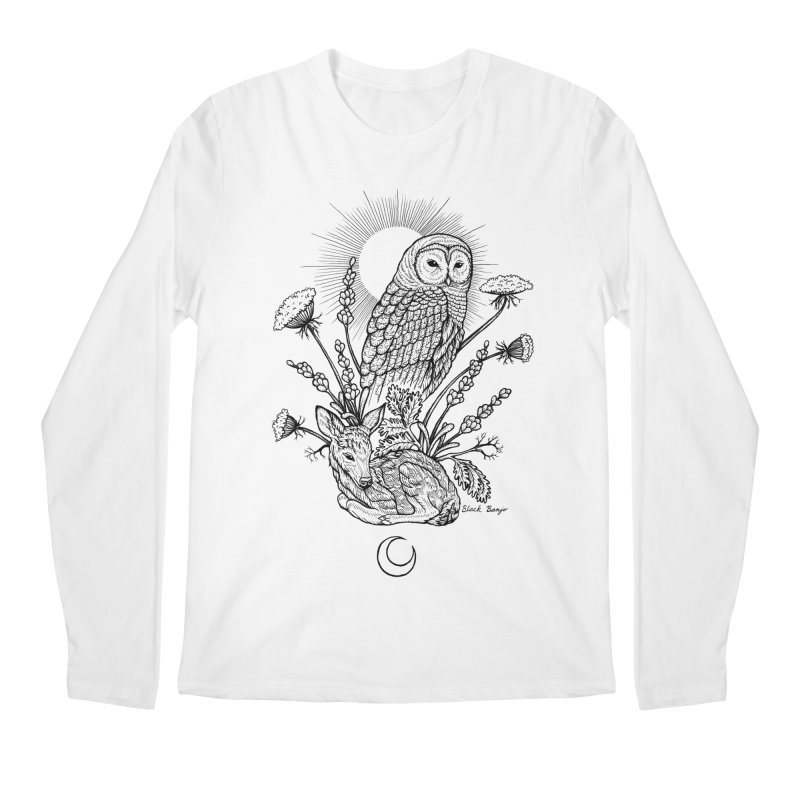 Owl & Fawn Men's Regular Longsleeve T-Shirt by Black Banjo Arts