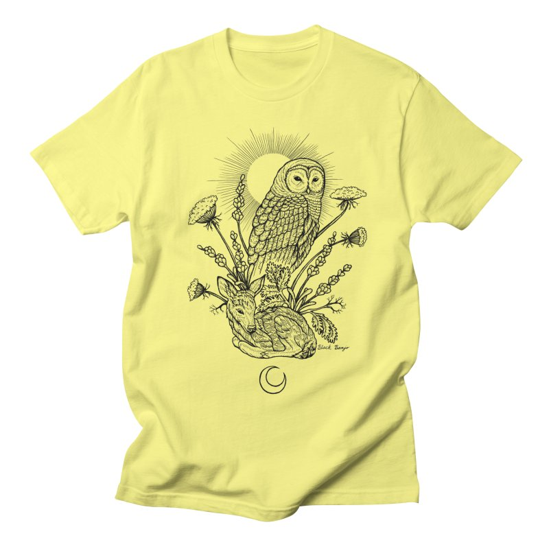 Owl & Fawn Men's Regular T-Shirt by Black Banjo Arts