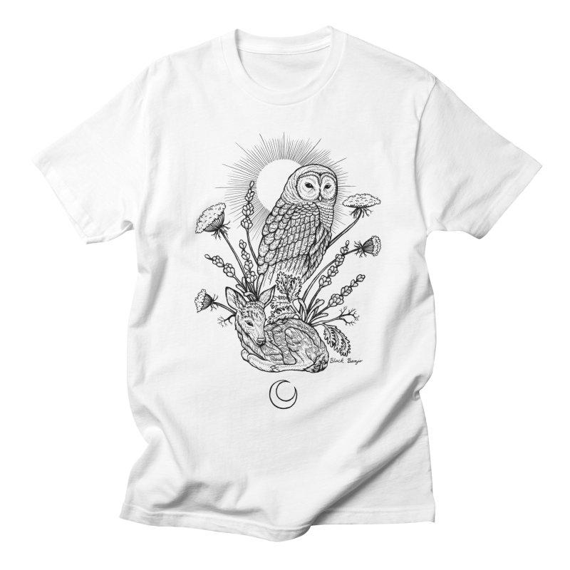 Owl & Fawn Men's Regular T-Shirt by Black Banjo Arts