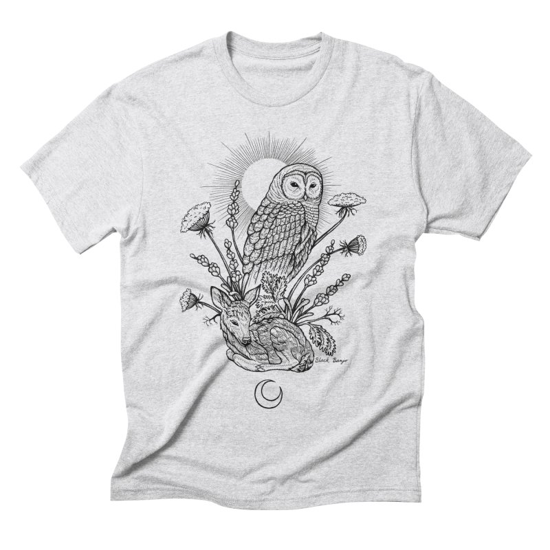Owl & Fawn Men's Triblend T-Shirt by Black Banjo Arts