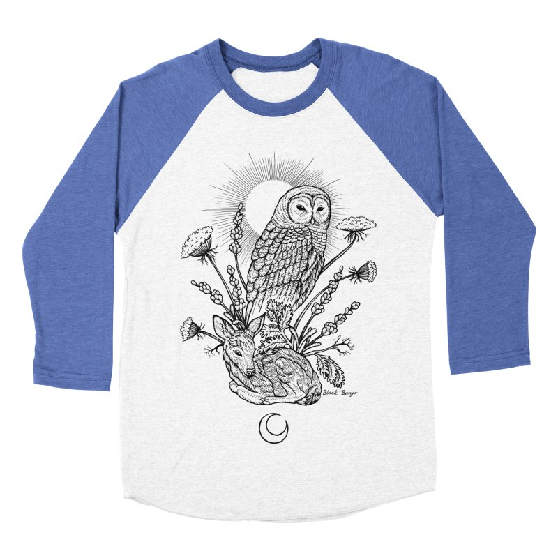 Owl & Fawn Women's Baseball Triblend Longsleeve T-Shirt by Black Banjo Arts