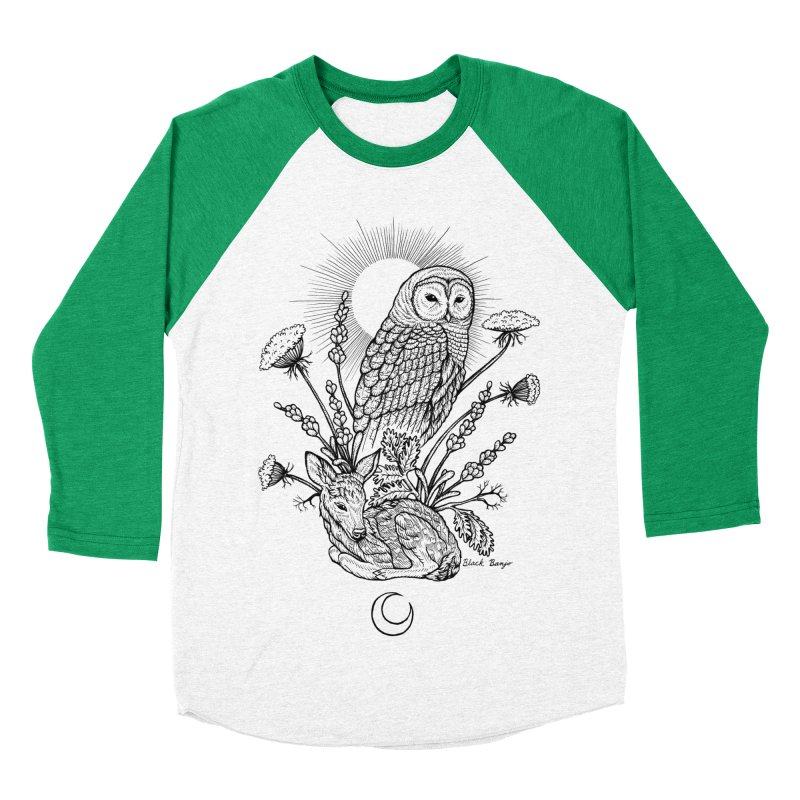 Owl & Fawn Women's Baseball Triblend Longsleeve T-Shirt by Black Banjo Arts