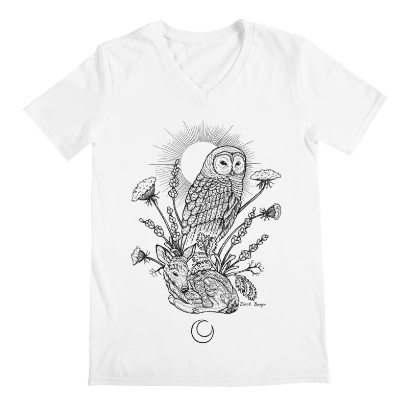 Owl & Fawn Men's V-Neck by Black Banjo Arts