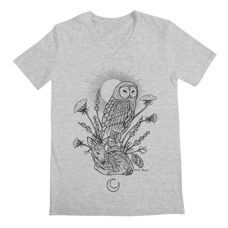 Owl & Fawn Men's Regular V-Neck by Black Banjo Arts
