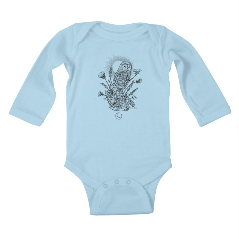 Owl & Fawn Kids Baby Longsleeve Bodysuit by Black Banjo Arts