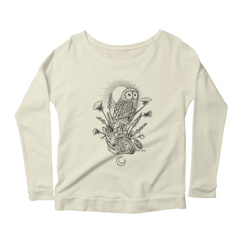 Owl & Fawn Women's Scoop Neck Longsleeve T-Shirt by Black Banjo Arts