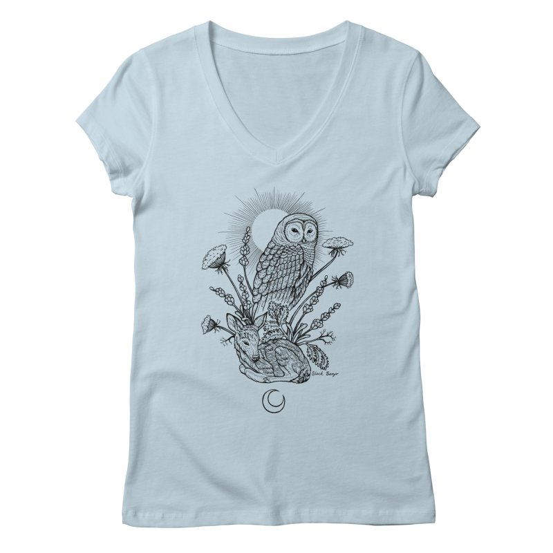 Owl & Fawn Women's Regular V-Neck by Black Banjo Arts