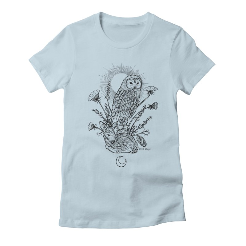 Owl & Fawn Women's Fitted T-Shirt by Black Banjo Arts