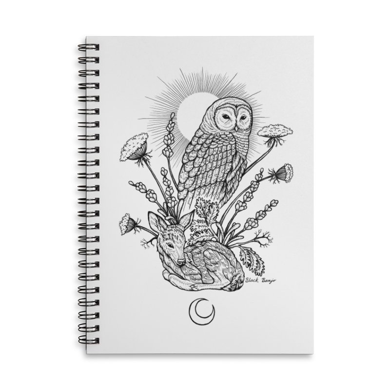 Owl & Fawn Accessories Lined Spiral Notebook by Black Banjo Arts