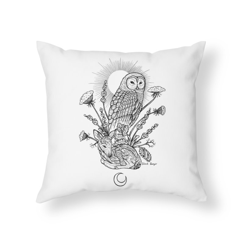Owl & Fawn Home Throw Pillow by Black Banjo Arts