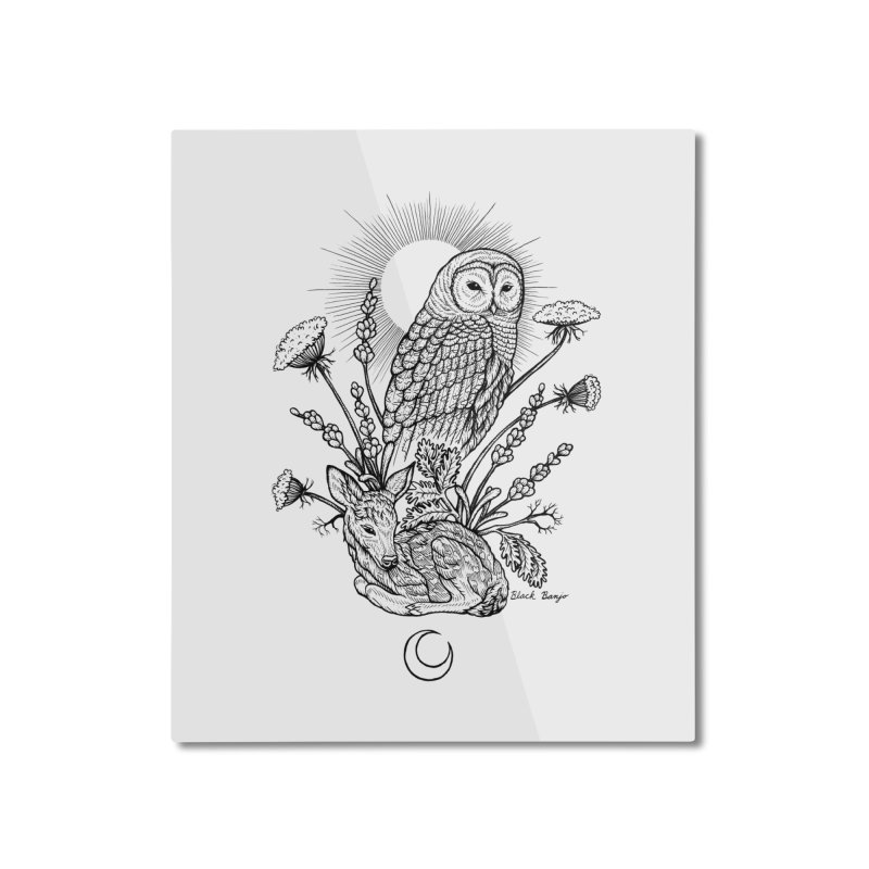 Owl & Fawn Home Mounted Aluminum Print by Black Banjo Arts