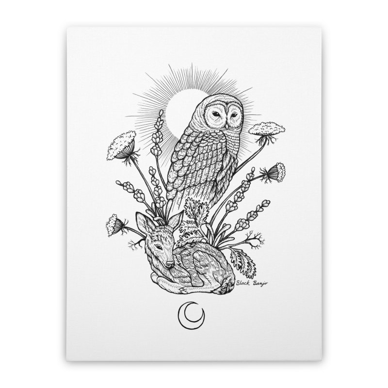 Owl & Fawn Home Stretched Canvas by Black Banjo Arts
