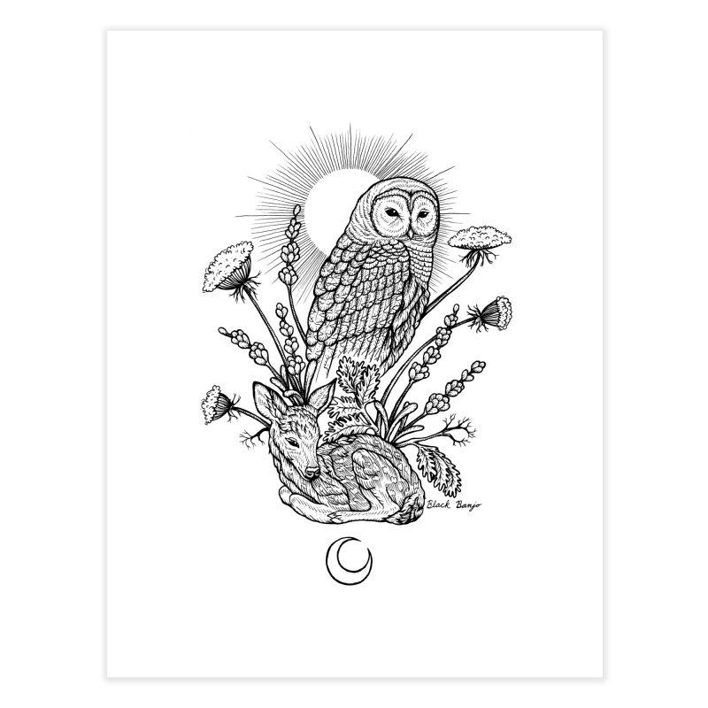 Owl & Fawn Home Fine Art Print by Black Banjo Arts
