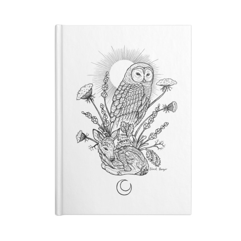 Owl & Fawn Accessories Blank Journal Notebook by Black Banjo Arts