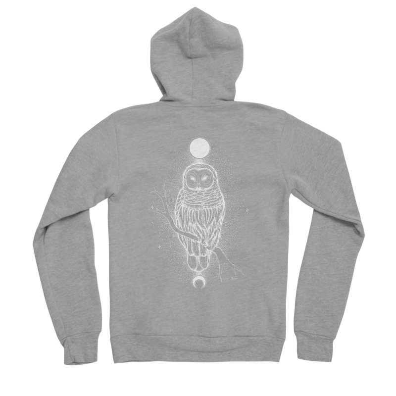The Celestial Owl Women's Sponge Fleece Zip-Up Hoody by Black Banjo Arts