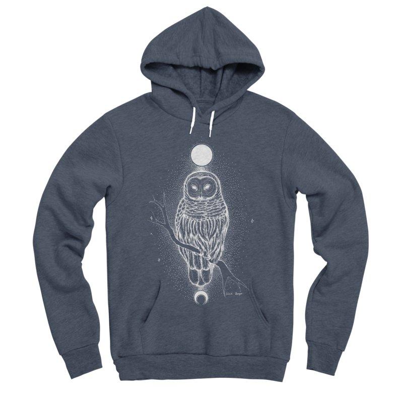 The Celestial Owl Men's Sponge Fleece Pullover Hoody by Black Banjo Arts