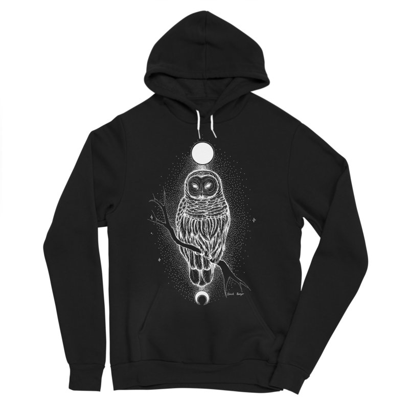 The Celestial Owl Men's Sponge Fleece Pullover Hoody by Black Banjo Arts