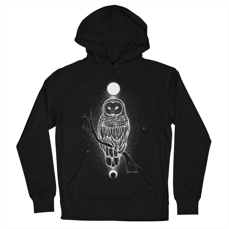 The Celestial Owl Men's French Terry Pullover Hoody by Black Banjo Arts