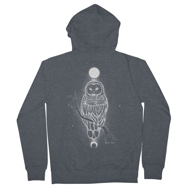 The Celestial Owl Women's French Terry Zip-Up Hoody by Black Banjo Arts