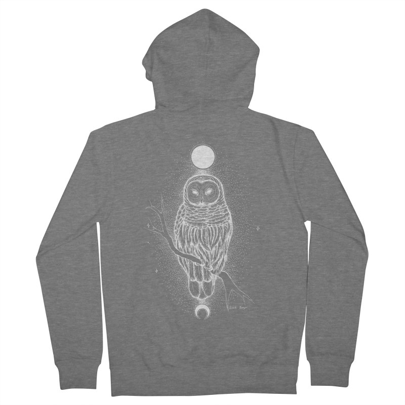 The Celestial Owl Men's French Terry Zip-Up Hoody by Black Banjo Arts