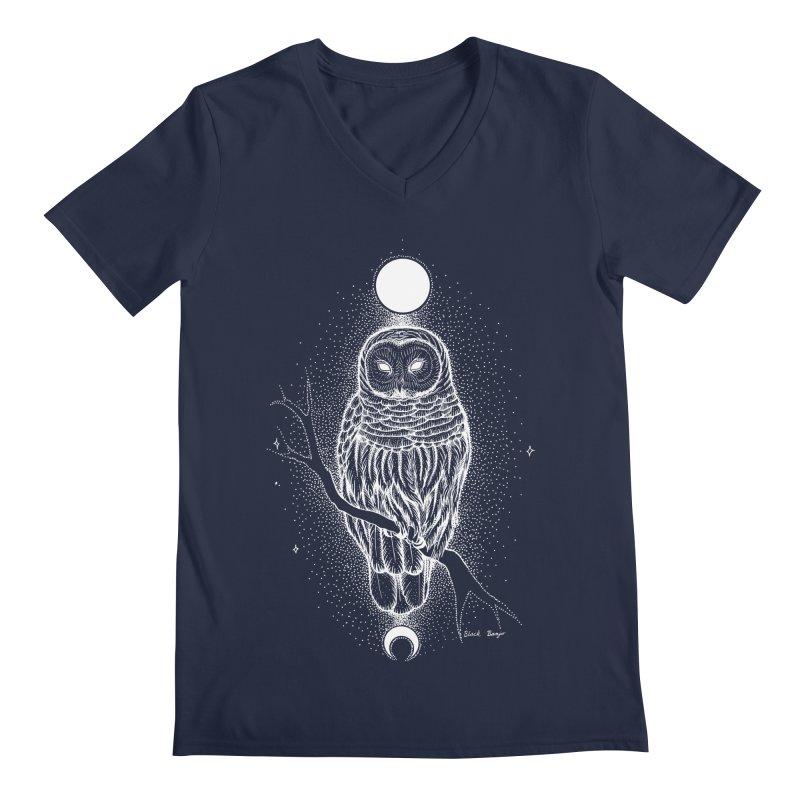 The Celestial Owl Men's Regular V-Neck by Black Banjo Arts