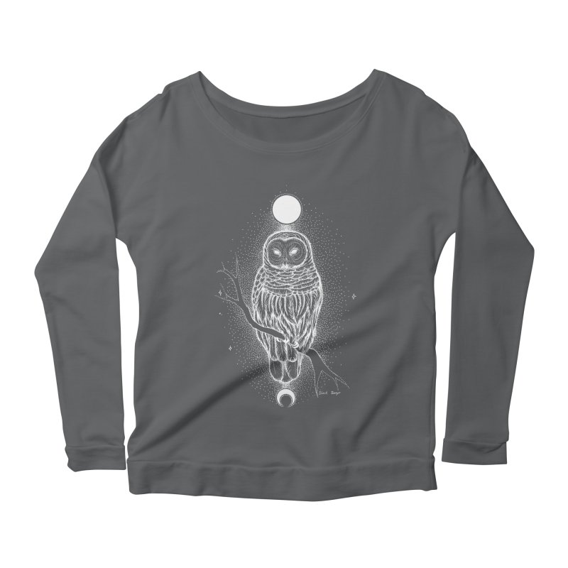 The Celestial Owl Women's Scoop Neck Longsleeve T-Shirt by Black Banjo Arts