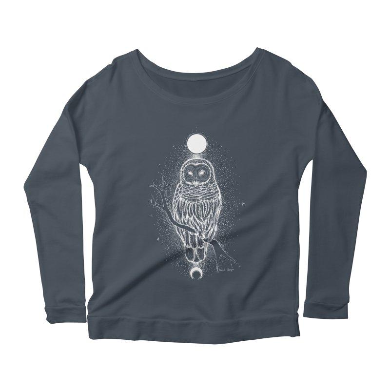 The Celestial Owl Women's Scoop Neck Longsleeve T-Shirt by Black Banjo Arts