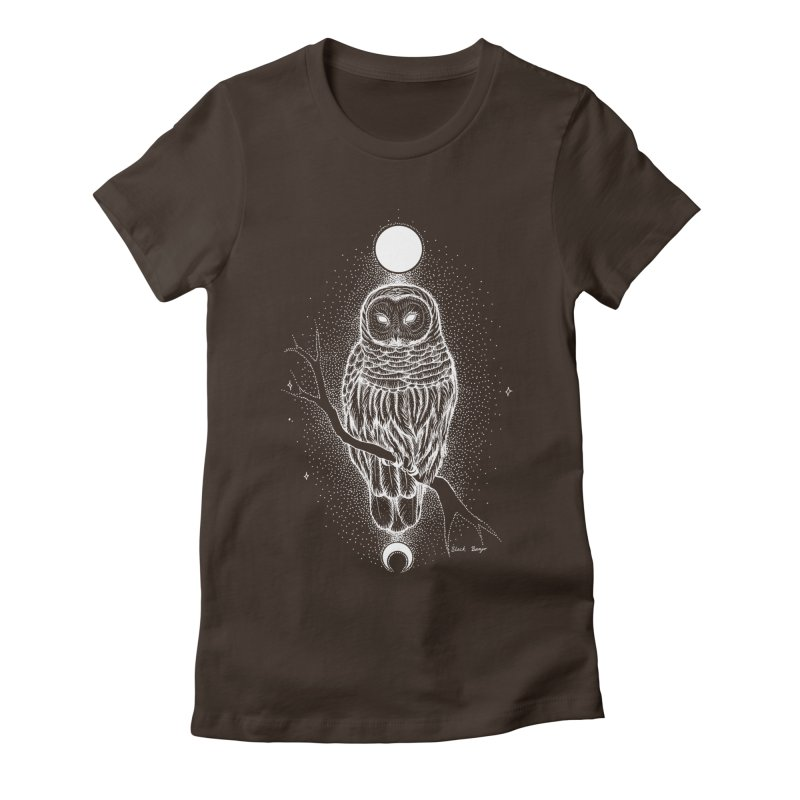 The Celestial Owl Women's Fitted T-Shirt by Black Banjo Arts