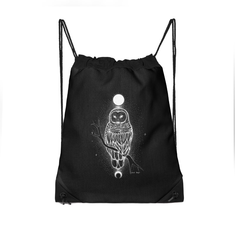 The Celestial Owl Accessories Drawstring Bag Bag by Black Banjo Arts