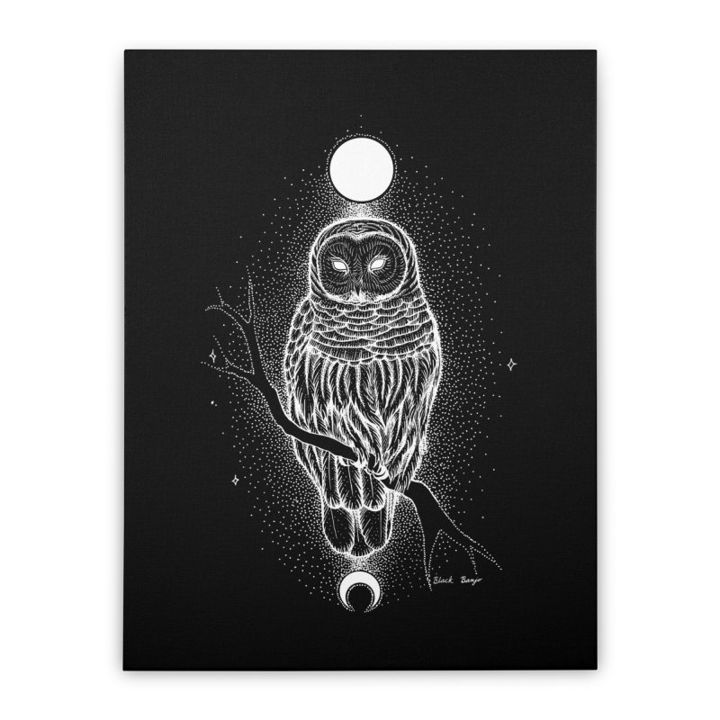 The Celestial Owl Home Stretched Canvas by Black Banjo Arts