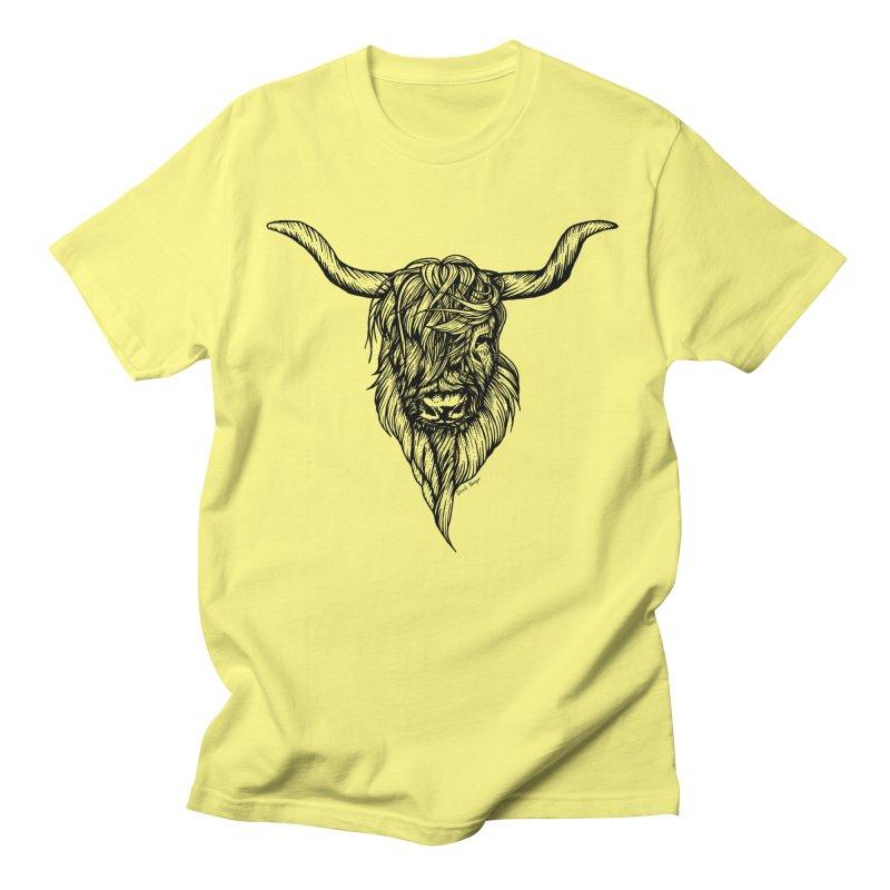 The Highland Cow Men's T-Shirt by Black Banjo Arts
