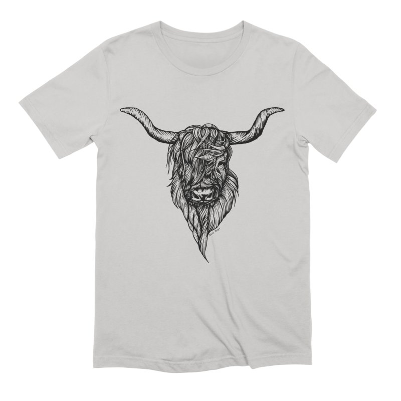 The Highland Cow Men's Extra Soft T-Shirt by Black Banjo Arts