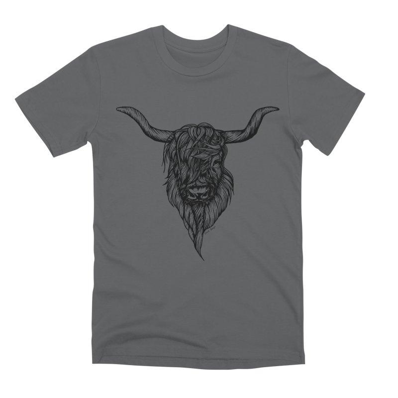 The Highland Cow Men's Premium T-Shirt by Black Banjo Arts