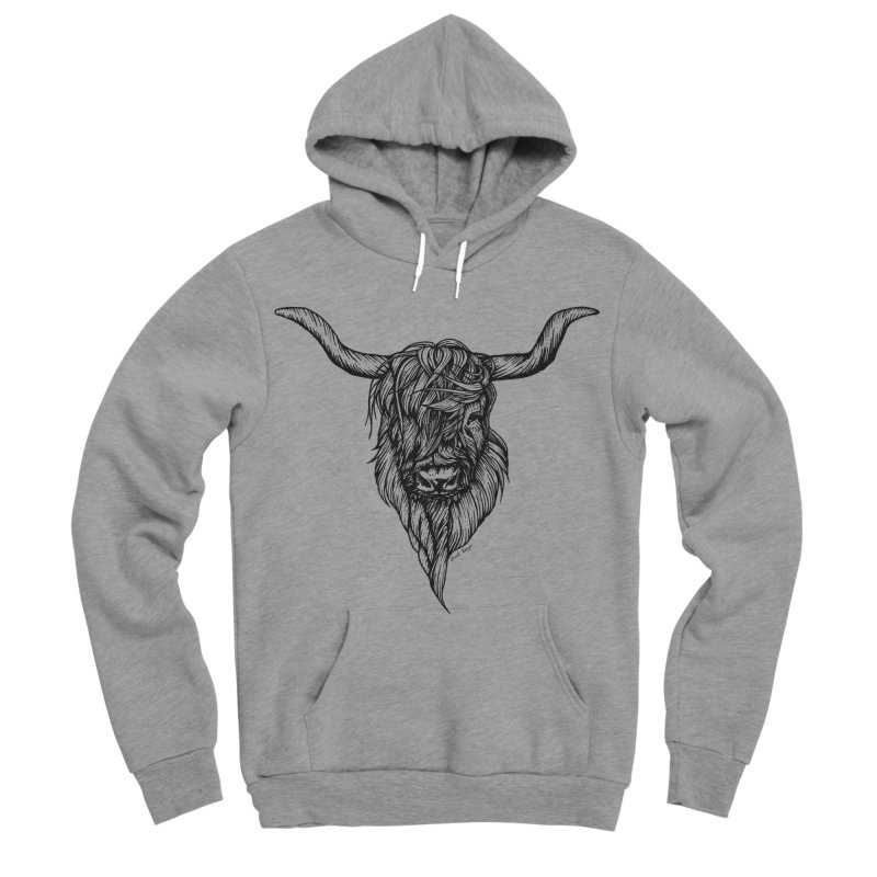 The Highland Cow Women's Sponge Fleece Pullover Hoody by Black Banjo Arts