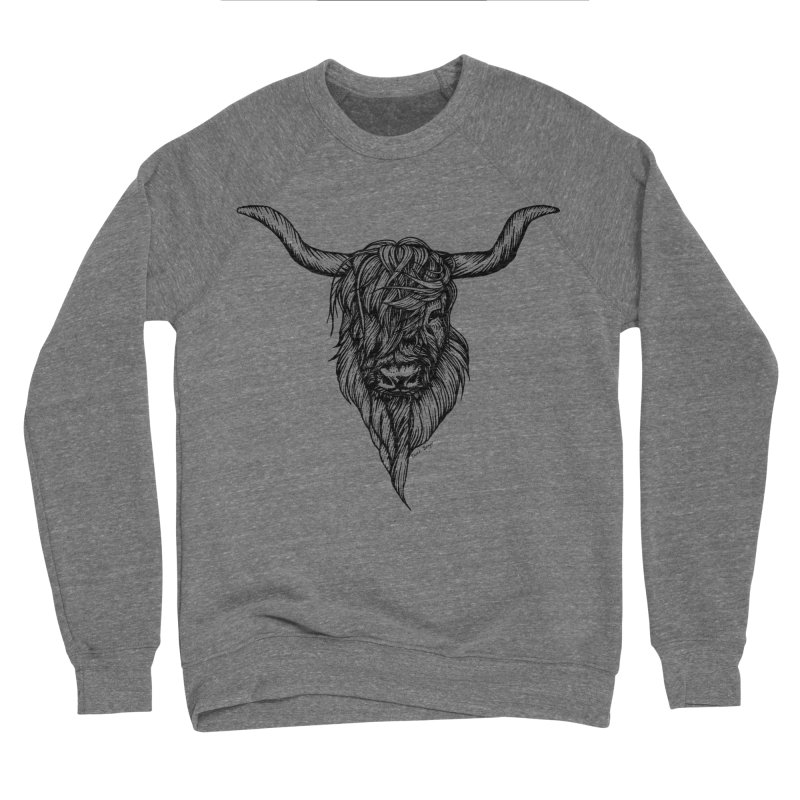 The Highland Cow Men's Sponge Fleece Sweatshirt by Black Banjo Arts