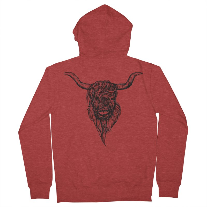 The Highland Cow Women's Zip-Up Hoody by Black Banjo Arts