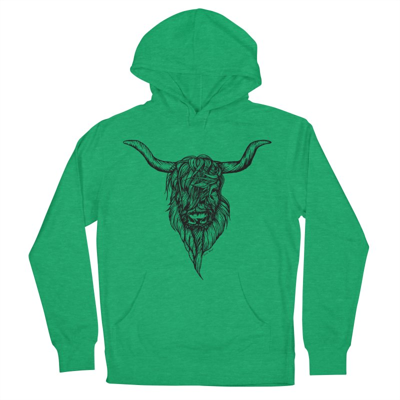 The Highland Cow Women's French Terry Pullover Hoody by Black Banjo Arts