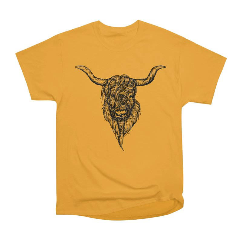 The Highland Cow Men's Heavyweight T-Shirt by Black Banjo Arts