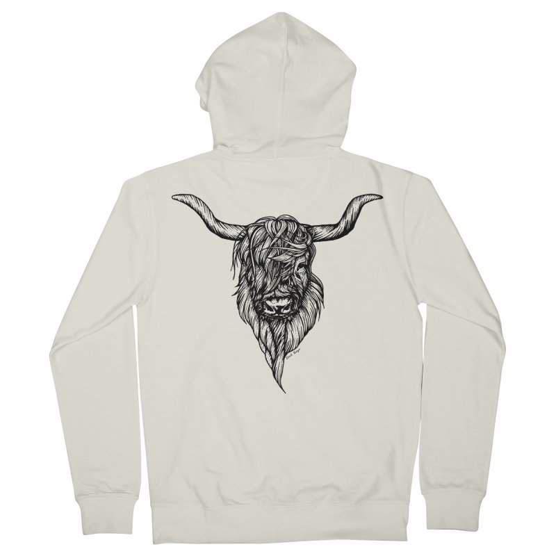 The Highland Cow Women's French Terry Zip-Up Hoody by Black Banjo Arts