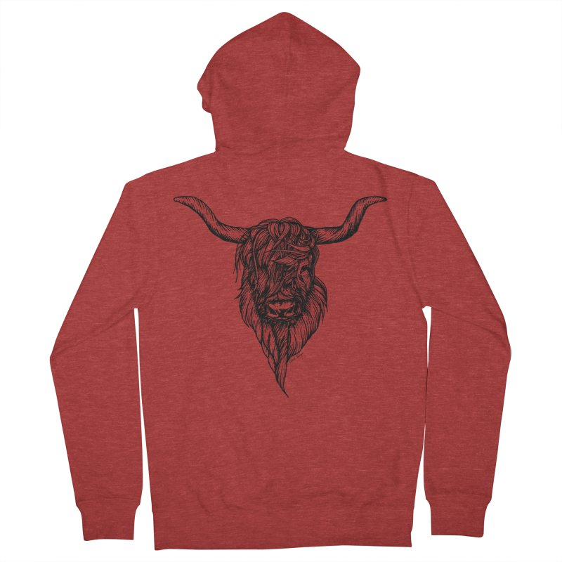 The Highland Cow Men's French Terry Zip-Up Hoody by Black Banjo Arts