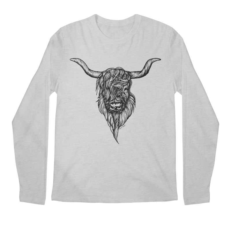 The Highland Cow Men's Regular Longsleeve T-Shirt by Black Banjo Arts