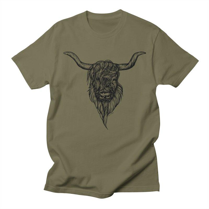 The Highland Cow Men's Regular T-Shirt by Black Banjo Arts