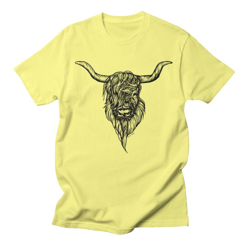 The Highland Cow Men's T-Shirt by Black Banjo Arts
