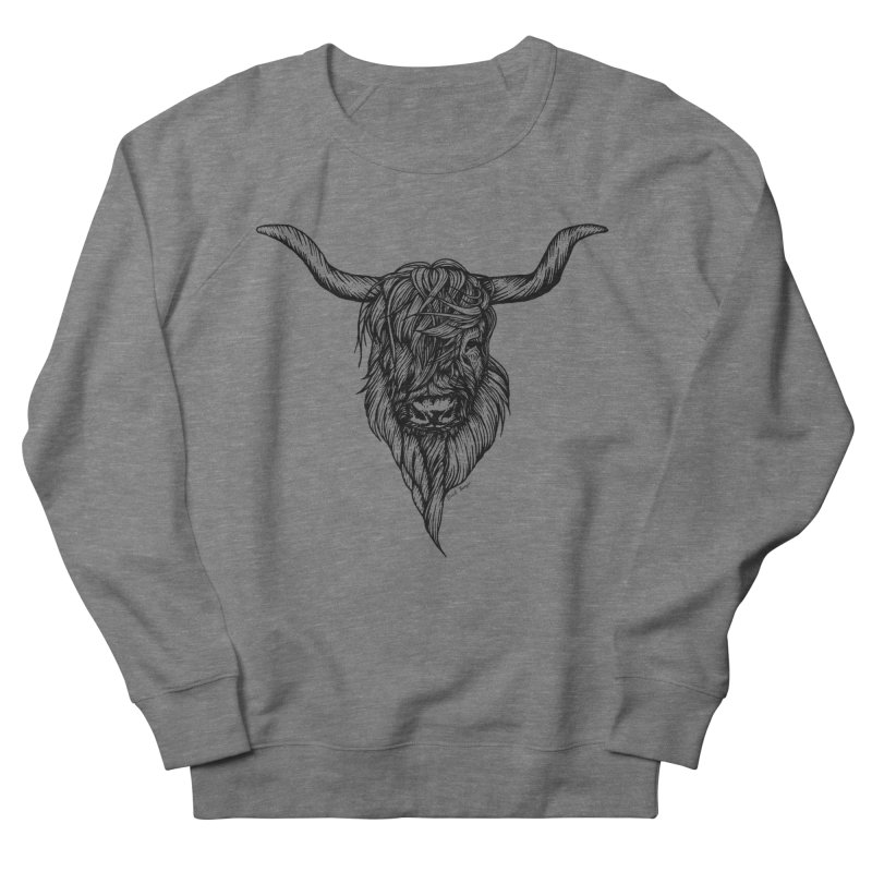 The Highland Cow Women's French Terry Sweatshirt by Black Banjo Arts