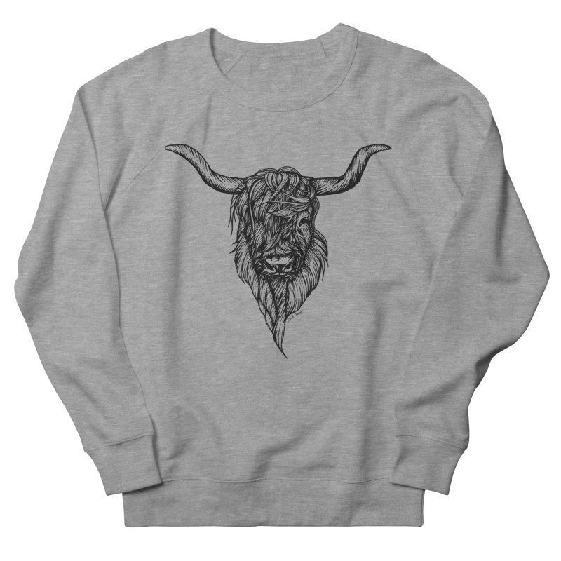 The Highland Cow Men's French Terry Sweatshirt by Black Banjo Arts