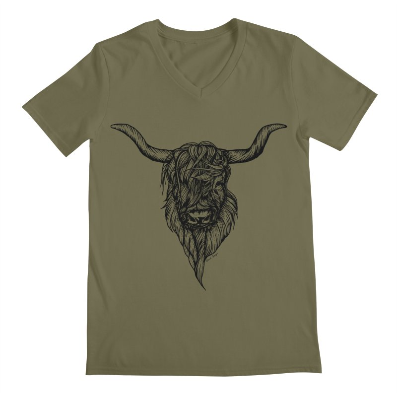 The Highland Cow Men's Regular V-Neck by Black Banjo Arts
