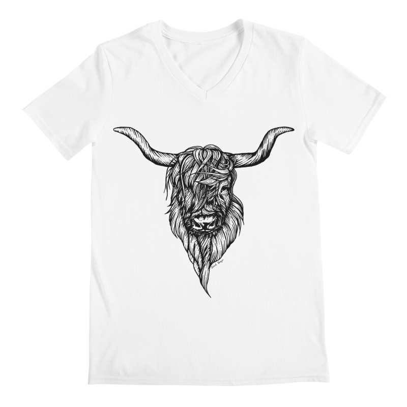 The Highland Cow Men's V-Neck by Black Banjo Arts
