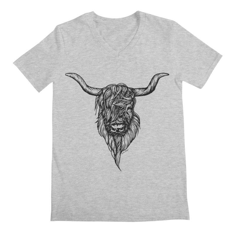 The Highland Cow Men's Regular V-Neck by Black Banjo Arts