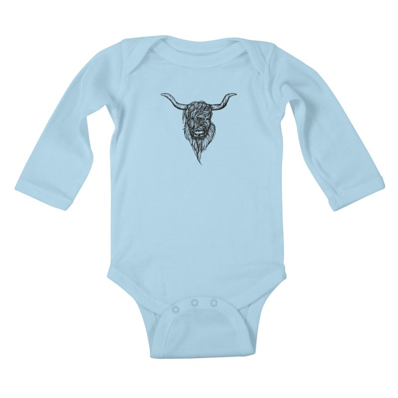 The Highland Cow Kids Baby Longsleeve Bodysuit by Black Banjo Arts